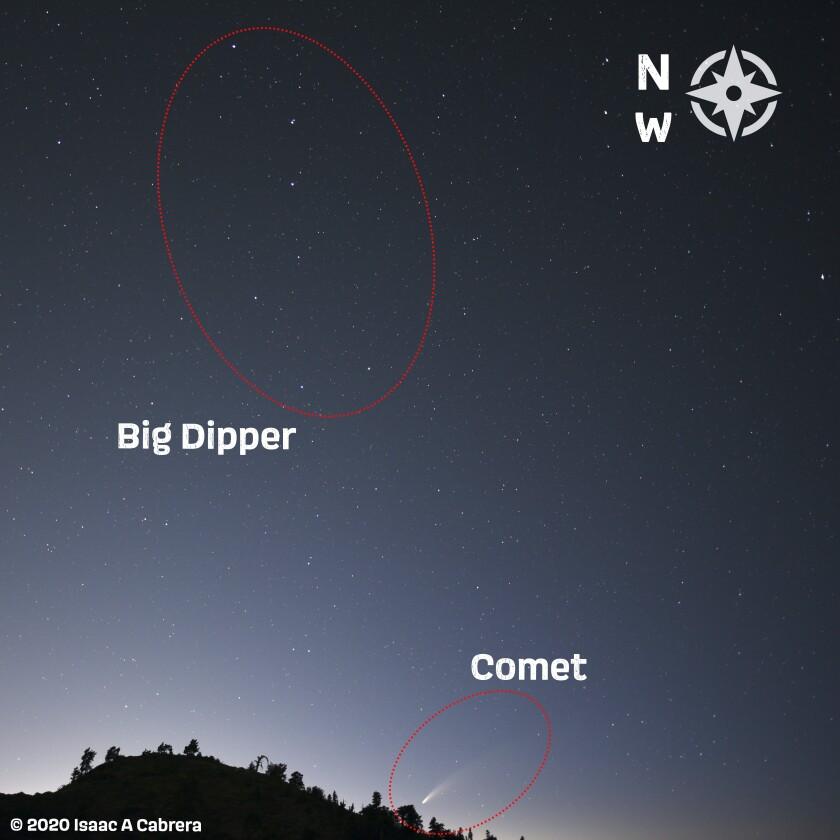 Esta ilustración fotográfica muestra dónde encontrar el cometa NEOWISE en el cielo nocturno.
