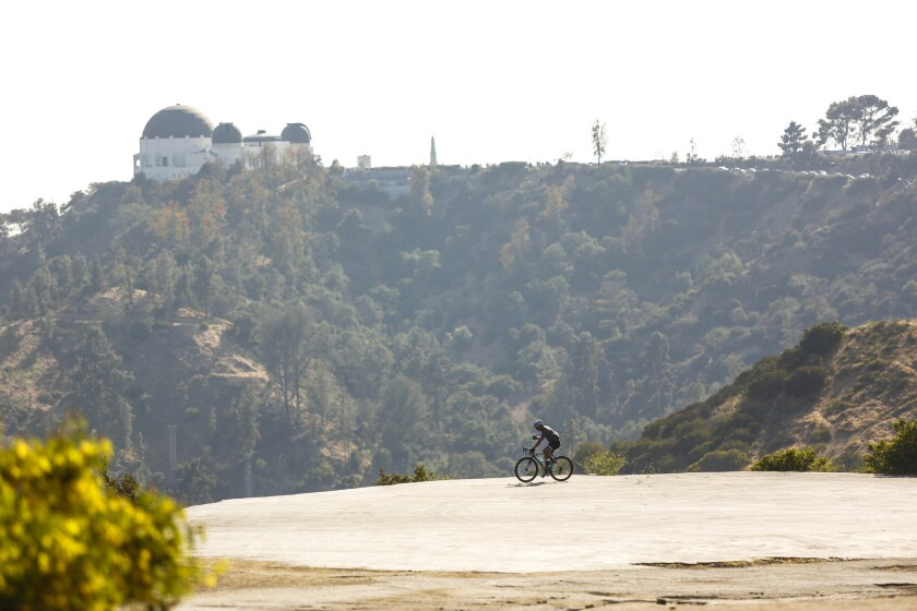 This unique trail located south of Griffith Park holds views of the cities, bikers, and hikers.