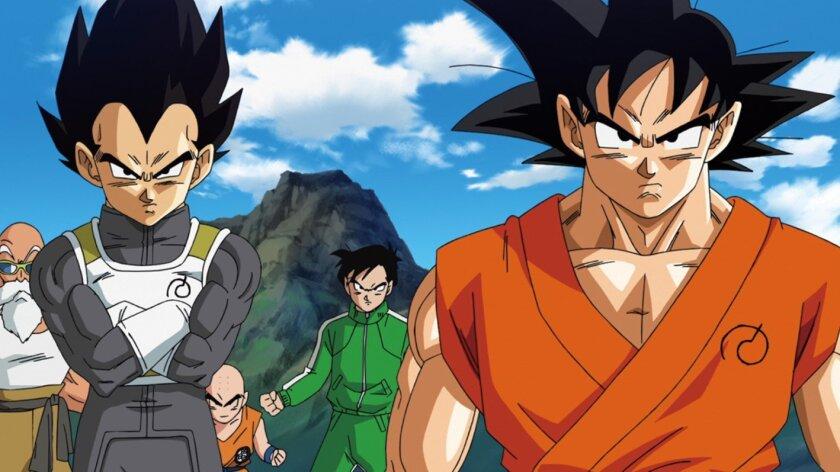 "Master Roshi, left, Vegeta, Gohan, and Goku prepare for a battle in ""Dragonball Z: Resurrection of F."""