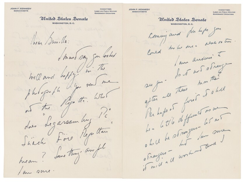 This photo shows a love letter that John F. Kennedy wrote to a Swedish paramour a few years after he married Jacqueline Bouvier, according to Boston-based RR Auction. The auction house says Kennedy wrote letters to aristocrat Gunilla von Post in 1955 and 1956, and announced, Wednesday, May 5, 2021, that they will be going up for auction. (Nikki Brickett/ RR Auction via AP)