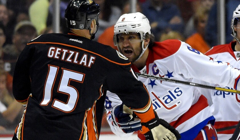 Ducks center Ryan Getzlaf and Capitals left wing Alex Ovechkin tussle during a game last season in Anaheim.