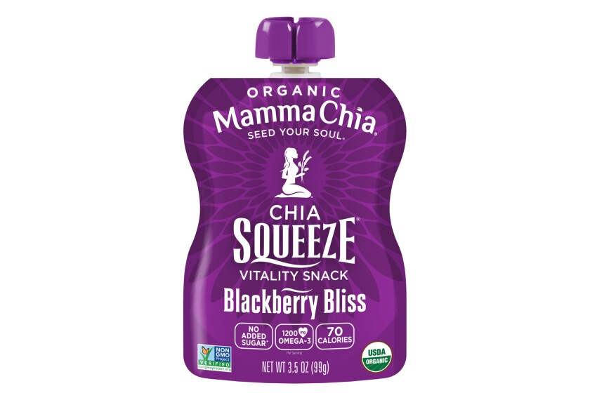 Chia seeds mixed with fruit and other ingredients from Mamma Chia.