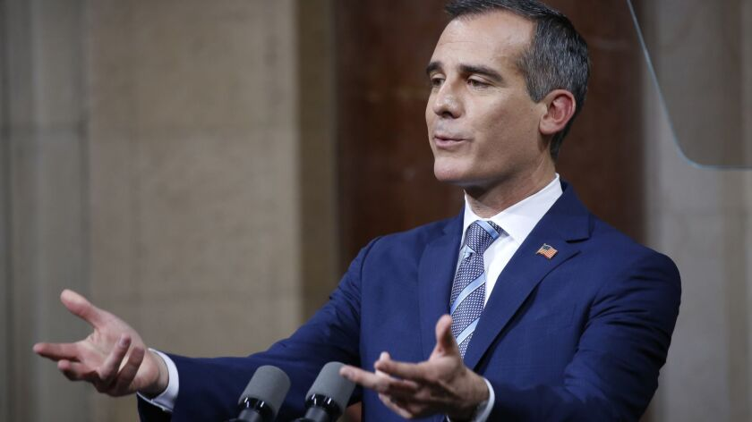 Mayor Eric Garcetti delivers his State of the City address in Los Angeles City Hall Council Chambers on April 16.