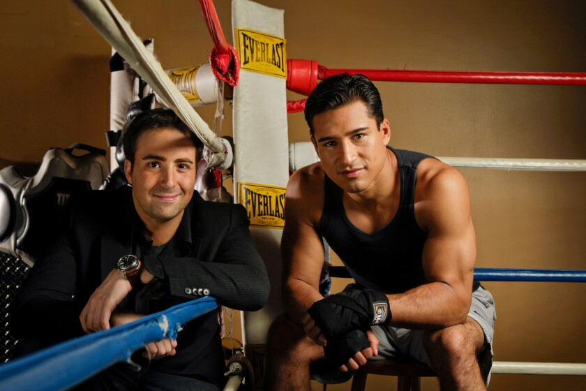 """Mario Lopez, right, and director Bert Marcus. Lopez says he trains """"more for sanity than vanity."""""""