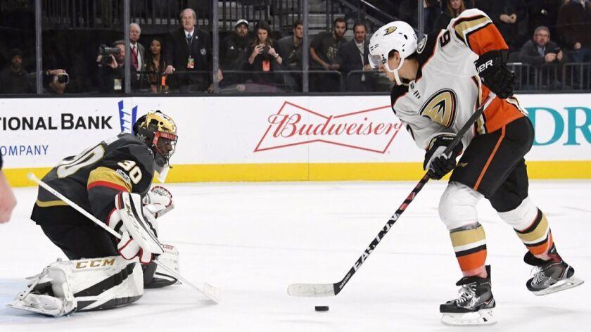 Vegas Golden Knights' Malcolm Subban (30) blocks a shot by Ducks' Rickard Rakell (67) during a shootout on Tuesday.