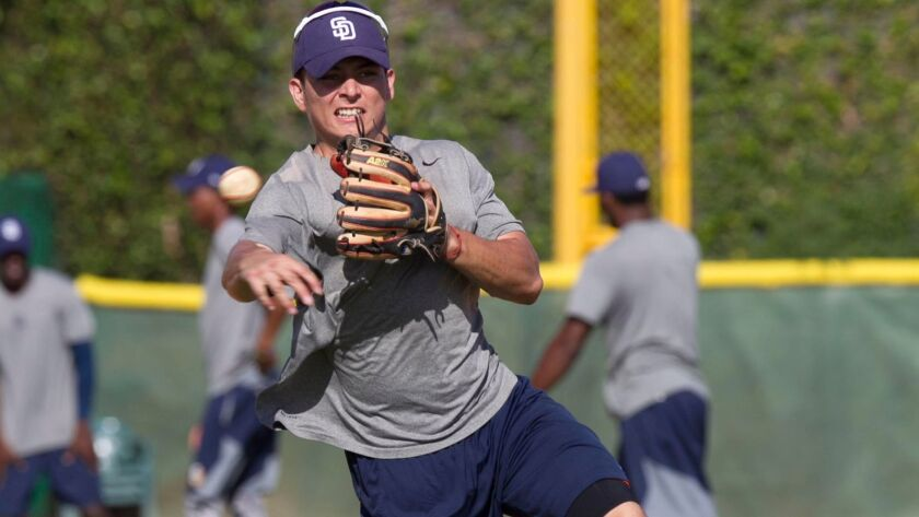 Padres prospect Luis Urias throws during drills at their baseball academy in the Dominican Republic on Feb. 2, 2017.