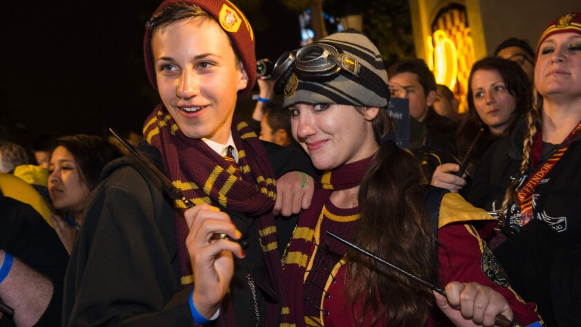 """""""Harry Potter"""" fans at the grand opening of the """"Wizarding World of Harry Potter"""" at Universal Studios Hollywood."""