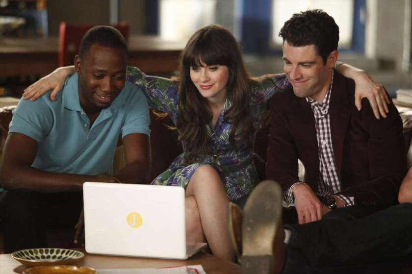 """Fox's """"New Girl"""" is a favorite of DVR users. The show stars Zooey Deschanel, Max Greenfield, right, and Lamorne Morris."""