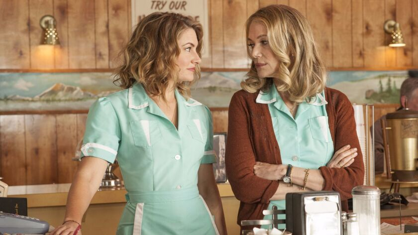 "Madchen Amick, left, reprises her Shelly role andPeggy Lipton plys Norma in the comeback of ""Twin Pe"