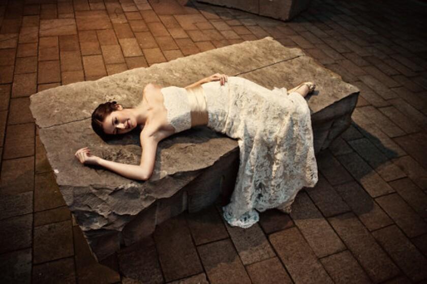 Bride Michelle Al Shamsi in 'Drawn Stone' by Andy Goldsworthy.