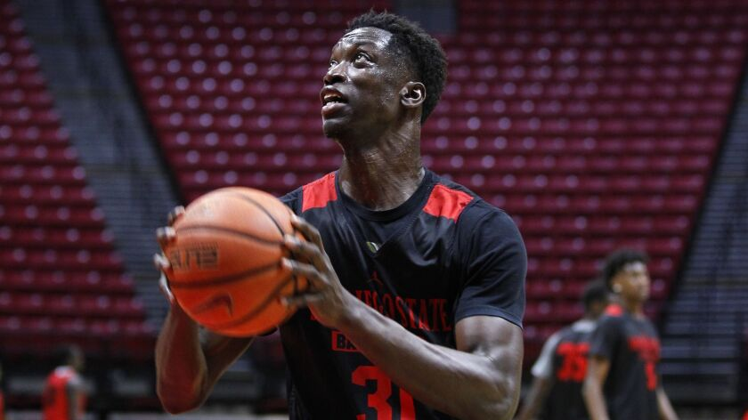 SDSU freshman Nathan Mensah has missed the last three weeks with a strained finger.