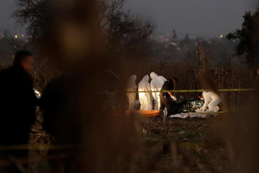 Authorities investigate the area where the remains of the helicopter carrying Governor of Puebla Martha Erika Alonso, and her husband, ex-governor of Puebla Rafael Moreno Valle, in Puebla, Mexico, Dec. 24, 2018. EPA-EFE/HILDA RIOS