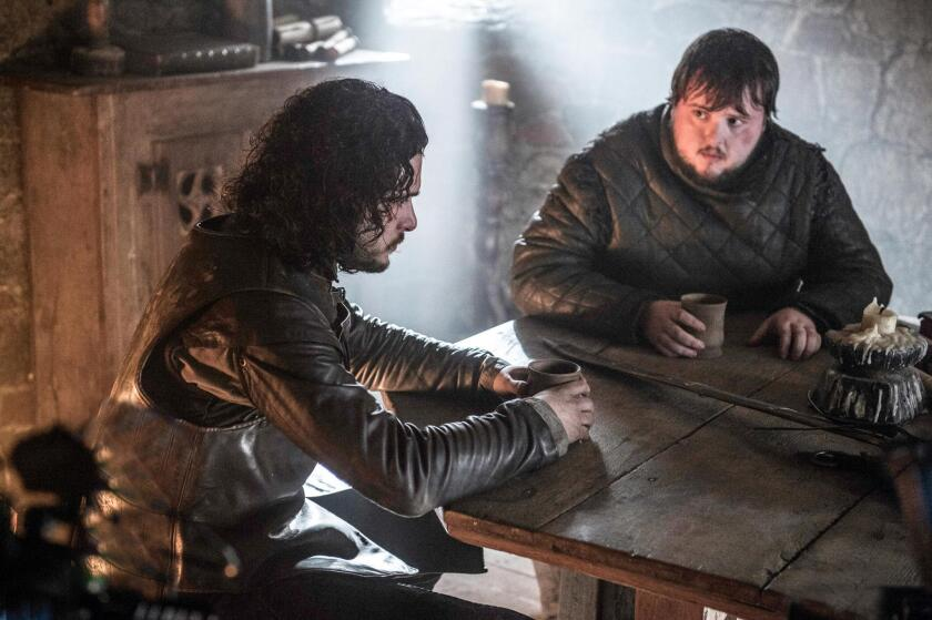 "Kit Harington, left, stars as Jon Snow and John Bradley is Samwell Tarly in ""Game of Thrones."""