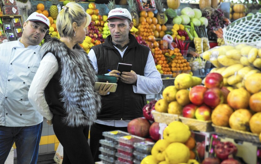 A market in central Moscow. Russia's ban on European Union food imports has inflicted pain on major exporters such as Italy, Greece, Cyprus and Hungary.
