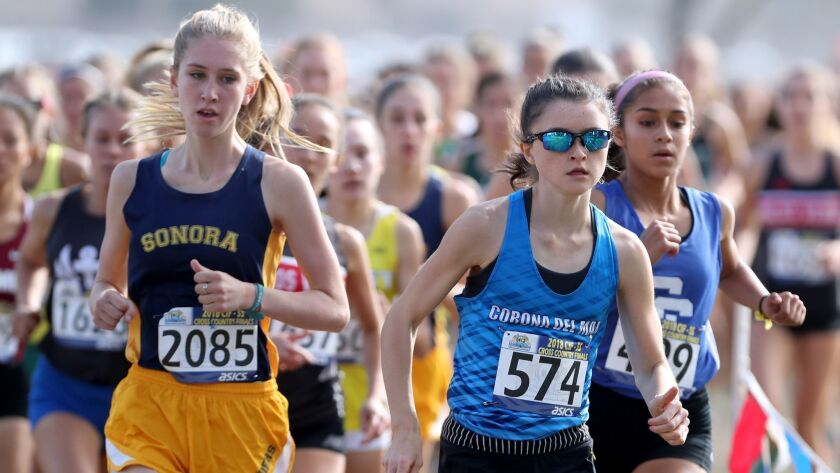Corona del Mar High School runner Annabelle Boudreau finished second in the girls' division 3 race a