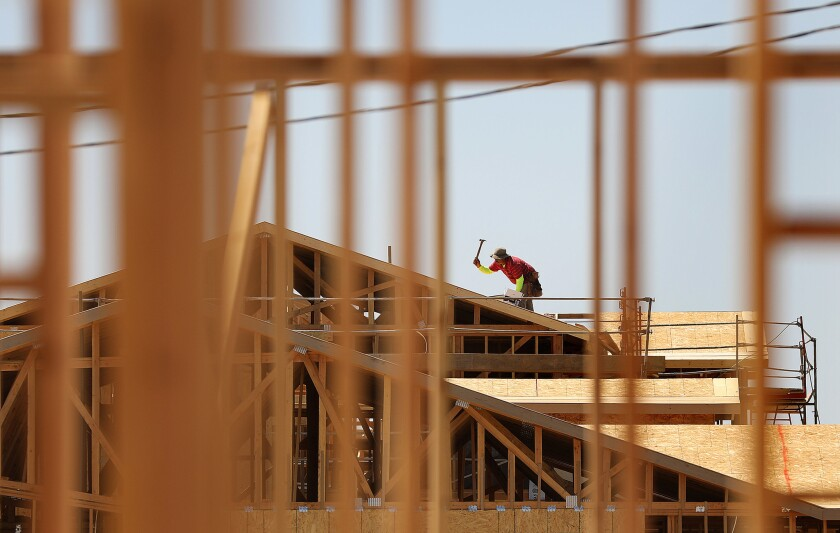 VICTORVILLE-CA-SEPTEMBER 2, 2018: New homes are under construction in Victorville on Sunday, Septemb