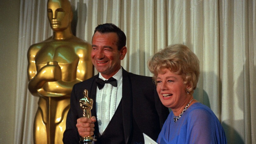 Walter Matthau with presenter Shelley Winters.