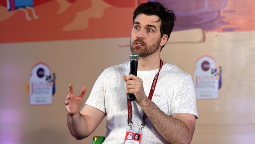 """Dan Mallory, whose hit mystery novel """"The Woman in the Window"""" was published in January 2018 under the pen name A.J. Finn, at the ZEE Jaipur Literature Festival in Jaipur, India."""