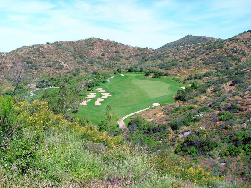 "The downhill third hole at Steele Canyon that is called ""Parachute."""