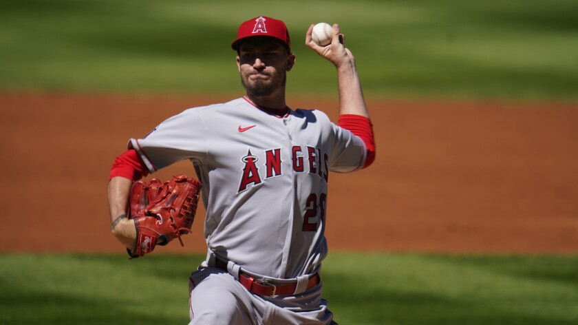 Angels pitcher Andrew Heaney gets ready to throw.