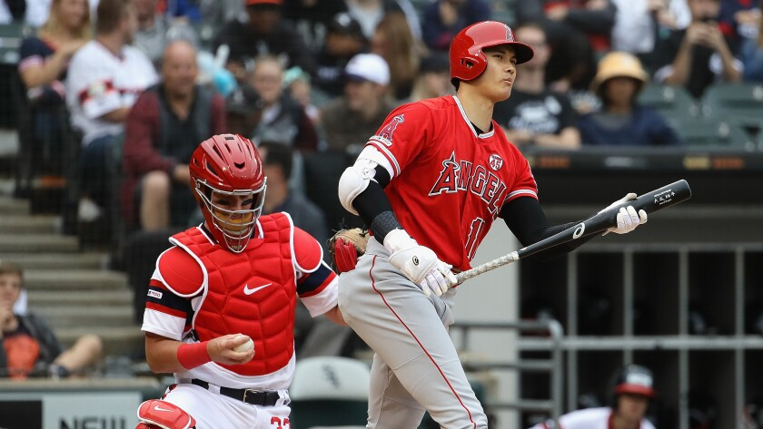 Angels designated hitter Shohei Ohtani strikes out during the fifth inning of a 5-1 loss to the Chicago White Sox on Sunday.