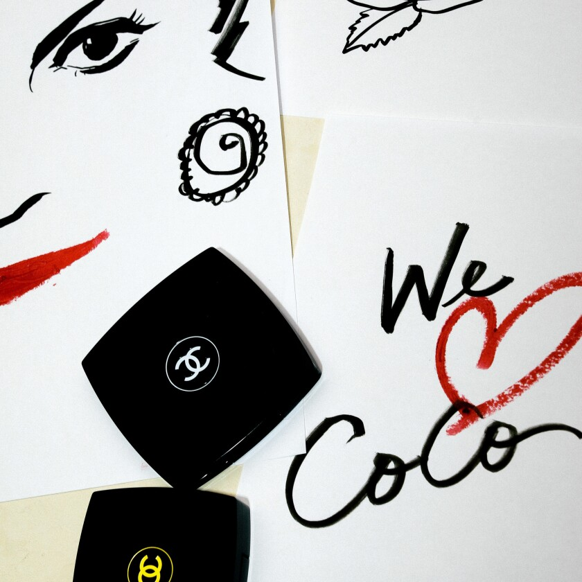 Illustrator Regina Yazdi's work positioned among Chanel compacts and shot for Chanel Beauty's new US