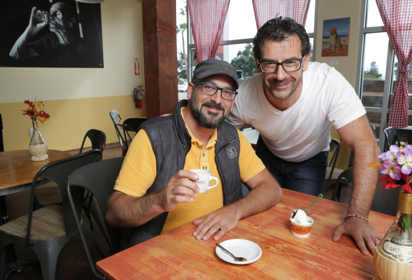 Lorenzo Bucci, left, with his brother Francesco Bucci at their Pappalecco Caffe in Cardiff. (Bill Wechter)