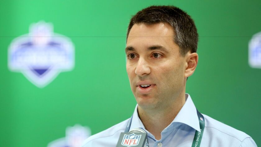 Tom Telesco speaks at a press conference at the NFL football scouting combine Thursday, March 2, 2017, in Indianapolis.