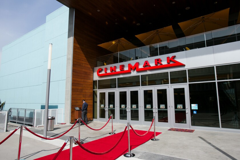 Shown is the entrance of a Cinemark movie theater in the Playa Vista neighborhood of Los Angeles.