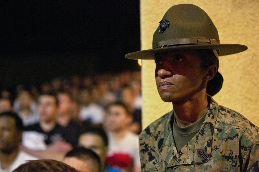 Sgt. Maj. Jennifer Simmons, of Support Battalion, Marine Corps Recruit Depot San Diego