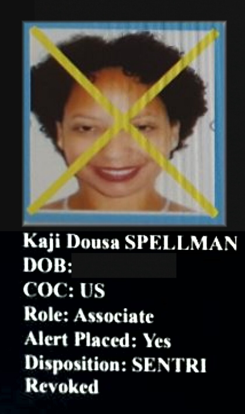 """Pastor Kaji Dousa Spellman was included in a government dossier that consisted of people, most of them U.S. citizens, working across the border. Dousa's photo had an """"X"""" over it, signaling she'd been either interviewed or arrested by investigators."""