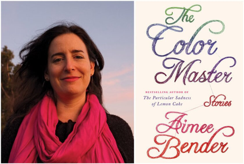 """Author Aimee Bender and the cover of her book, """"The Color Master."""""""