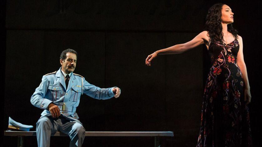 "(L-R) - Tony Shalhoub and Katrina Lenk perform in ""The Band's Visit."" Credit: Matt Murphy"