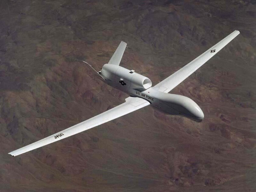 The Global Hawk unmanned aerial vehicle is designed by Northrop Grumman in San Diego and is widely used for intelligence gathering in the Middle East.