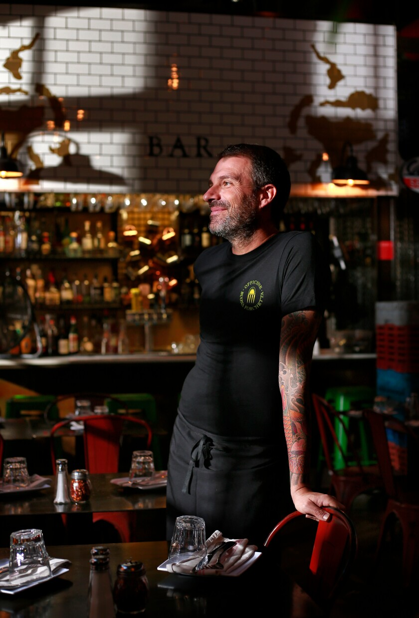 A photo of Matteo Cattaneo, owner and co-chef of Officine Buona Forchetta in Liberty Station, shown here on Oct. 2, 2019.