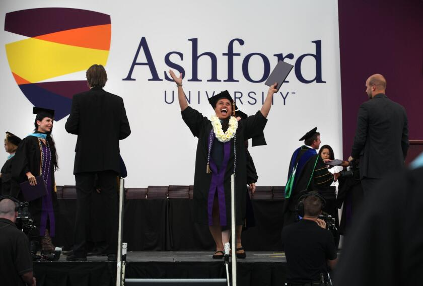 Aganaalelani E. Malama Papa-Lynch receives her diploma in this 2014 file photo of a commencement ceremony from Ashford University in San Diego.