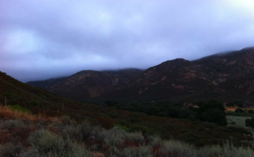 The Union Tribune's Rob Hopwood took this image from the mountains, right past the Border Patrol check point on I-8, early this morning. Rain showers are now moving inland.