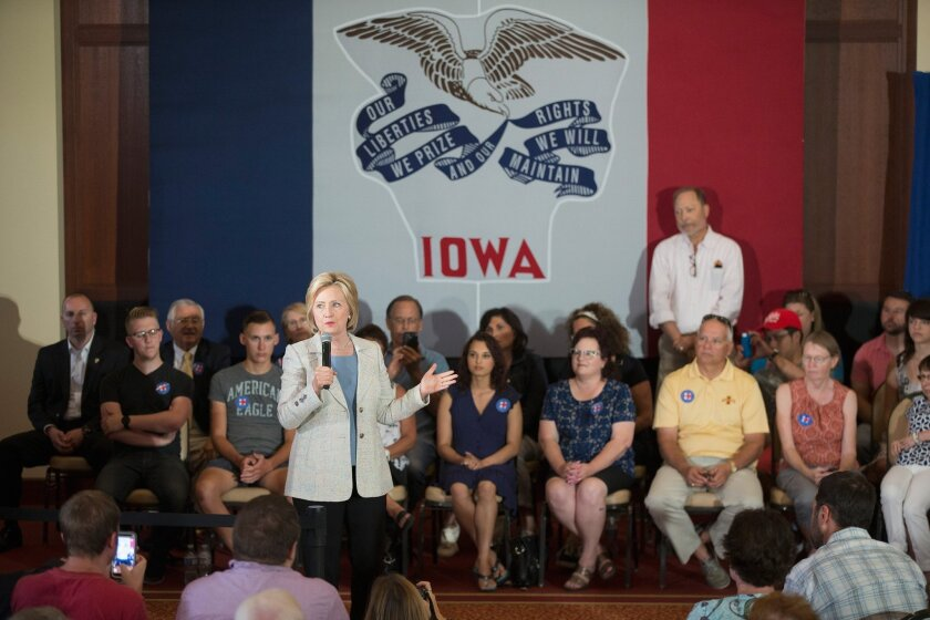 Democratic presidential hopeful Hillary Rodham Clinton at a campaign event in Ames, Iowa, on Sunday.