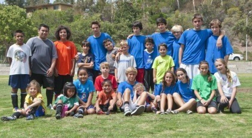 Participants and counselors of Goals for Kids culminate two days of camp at La Colonia Park in Solana Beach.