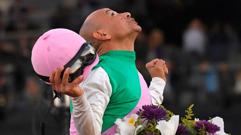 Mike Smith celebrates atop Arrogate after winning the Breeders' Cup Classic horse race Saturday at Santa Anita Park in Arcadia.