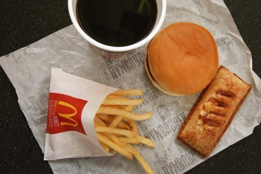 Food from a McDonald's restaurant. New research suggests that some modern conveniences -- such as fast food -- might make people more impatient.