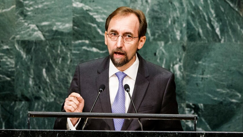 U.N. human rights chief Zeid Raad Hussein speaks in the General Assembly Hall at United Nations headquarters in New York in September.