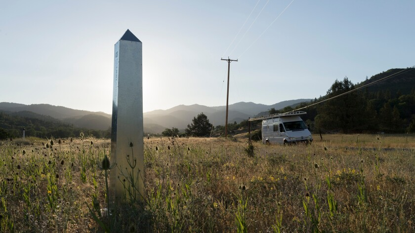 A sheet metal obelisk by David Taylor and Marcos Ramirez Erre somewhere south of Ashland, Ore. -- part of a project marking the 1821 U.S.-Mexico border.