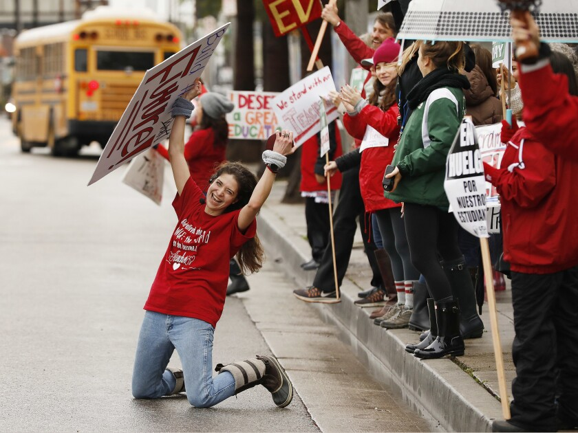 L A  teachers' strike brings day of disruption for thousands