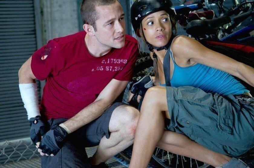 "Joseph Gordon-Levitt and Dania Ramirez in ""Premium Rush."""