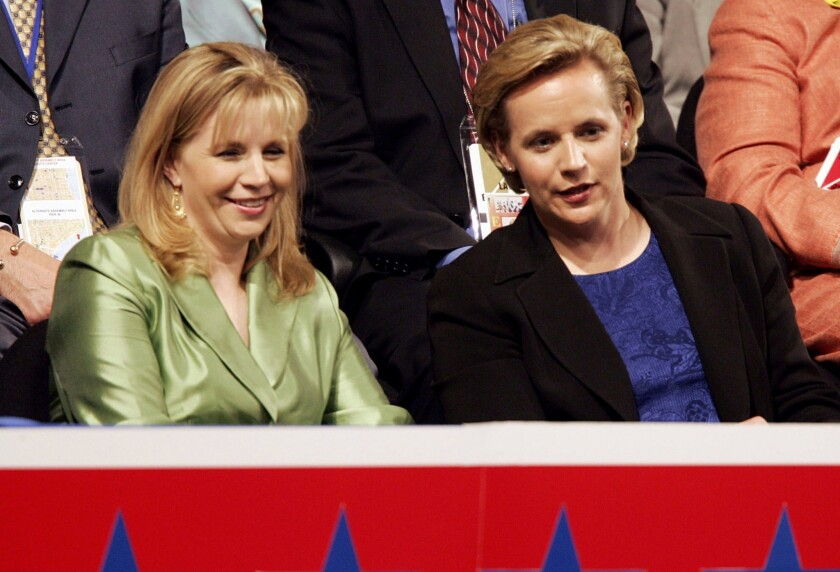 Elizabeth, left, and Mary Cheney, daughters of former Vice President Dick Cheney, attend the Republican National Convention at Madison Square Garden in New York City in this 2004 photo.