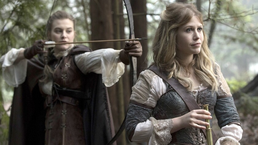 """Alice (Rose Reynolds, right) has a dangerous encounter in a new episode of the fantasy series """"Once Upon a Time"""" on ABC. With Tiera Skovbye."""