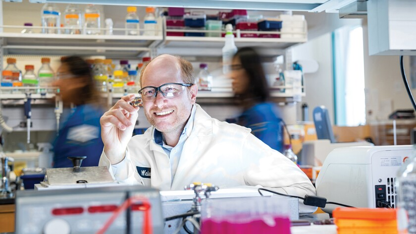 Gregory Weiss, pictured here, and Reginald Penner, professors of chemistry at UC Irvine, developed a non-invasive means to detect early cancer flags in urine.
