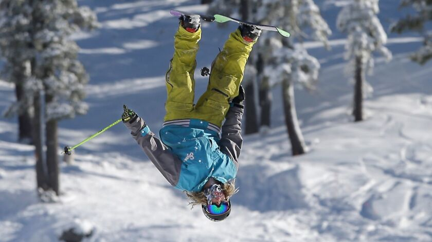 A skier goes head over heals while doing a flip at Boreal Mountain Resort near Donner Summit, Calif.