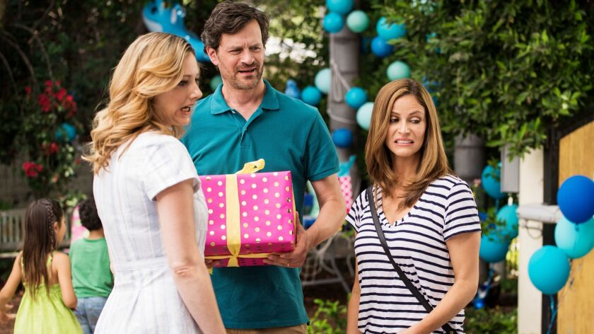 "Andrea Savage, right, with Judy Greer and Tom Everett Scott, plays a comedy writer battling life in the new truTV series ""I'm Sorry."""